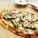 Flatbread Pizzas with Mushrooms, Mozzarella and Gouda