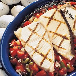 Grilled Alaska Seafood Steaks with Mediterranean Salsa