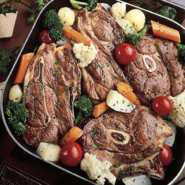 Vegetable Lamb Chop Skillet Dinner