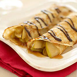Crepes with Brown Sugar Pears and Chocolate