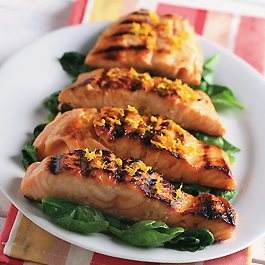 Orange-Glazed Salmon over Sauteed Spinach