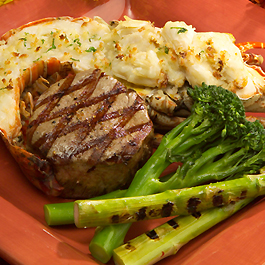 Grilled Florida Lobster Surf and Turf with Shallot Butter
