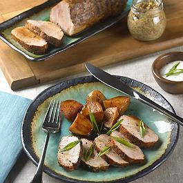 Pork Tenderloin, Potatoes and Horseradish-Mustard Seed Sauce