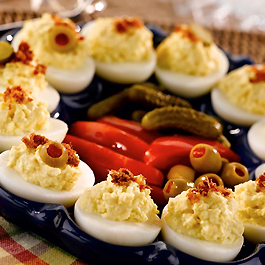 Potato Salad Deviled Eggs with Bacon