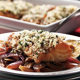 Thyme-Crusted Alaska Black Cod on Braised Red Onions