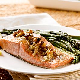 Honey-Dijon Alaska Salmon with Asparagus and Walnuts
