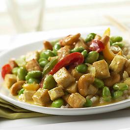 Tofu and Edamame Stir-Fry with Thai Coconut Sauce