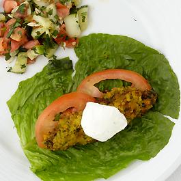 Baked Falafel & Tomato Cucumber Salad